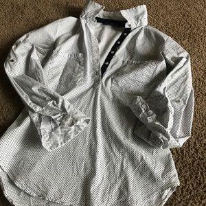 Zara Poplin polka dot dress shirt